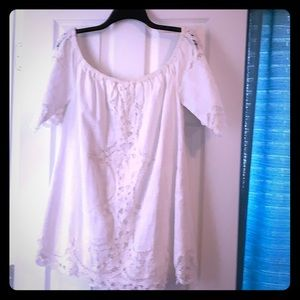 Free People Cream Small Off Shoulder Shirt